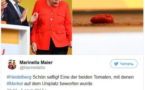 ضرب ميركل بالطماطم بالفيديو: رمي المستشارة الألمانية ميركل بالطماطم!