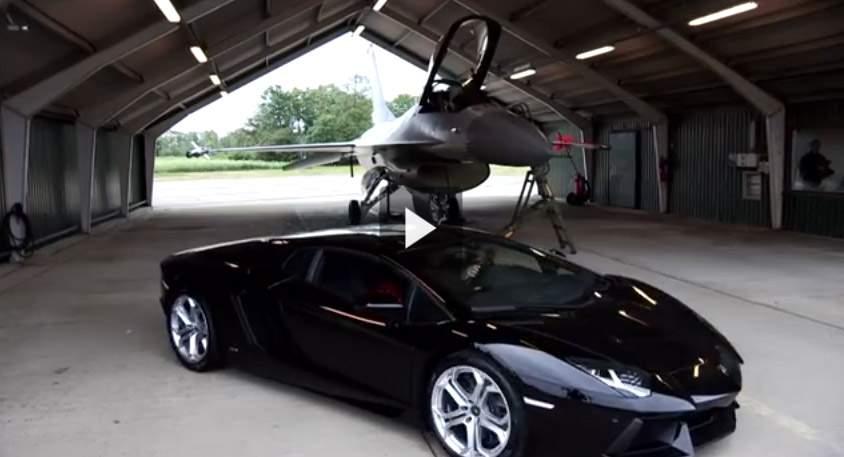 بالفيديو سباق F16 مع لامبورغيني أفينتادور