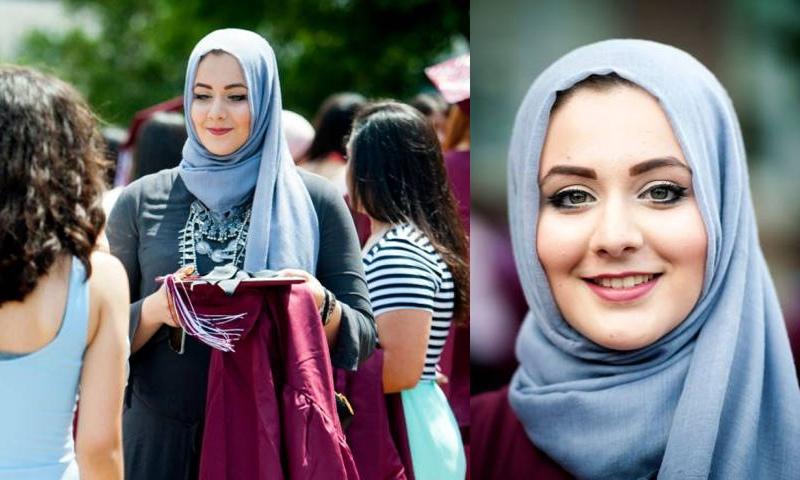 فلسطينية محجبة تحصد لقب الأكثر اناقة في حفل تخرجها بأمريكا