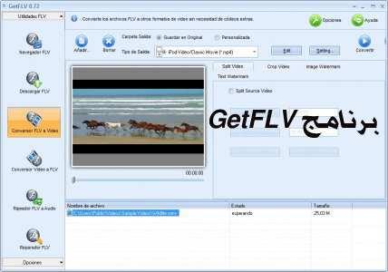 برنامج GetFLV لتحميل الفيديو وتحويل الفيديو والصوت